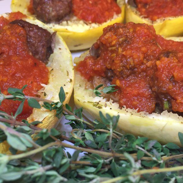 Paleo Spaghetti Squash & Meatballs