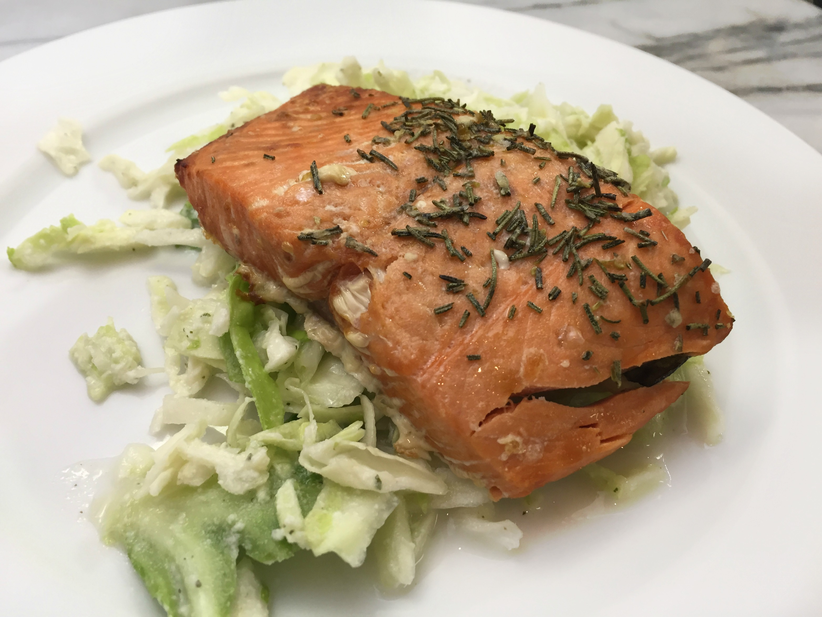 Salmon and Cabbage with Paleo Dressing