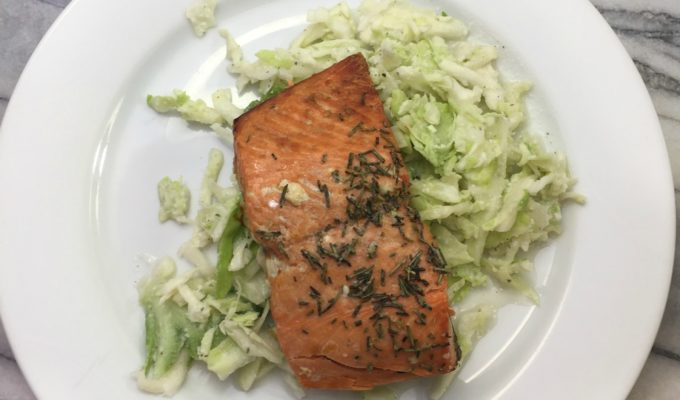 Rosemary Salmon & Cabbage Slaw with Lemongrass Dressing