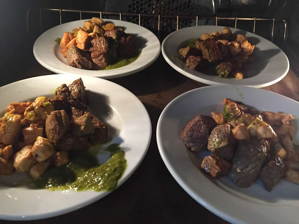 Chimichurri Steak and Chicken Bites