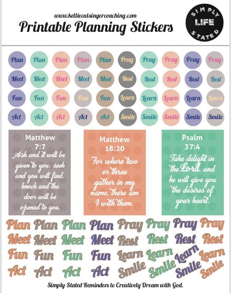 Kellie Cutsinger Coaching Planning Stickers